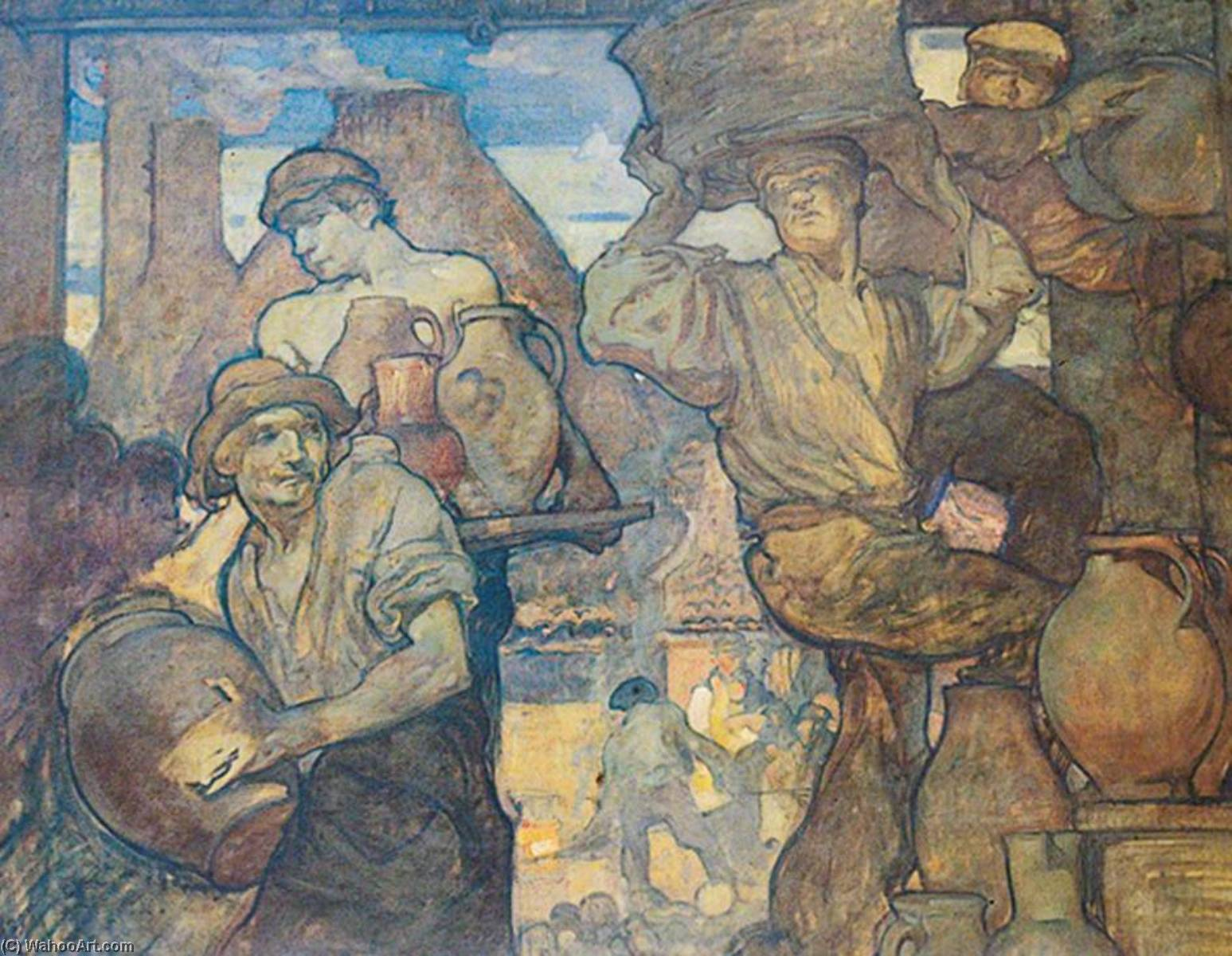 的 陶工 , 1905 通过 Frank William Brangwyn (1867-1956, Belgium) | 幀畫冊專輯 | ArtsDot.com
