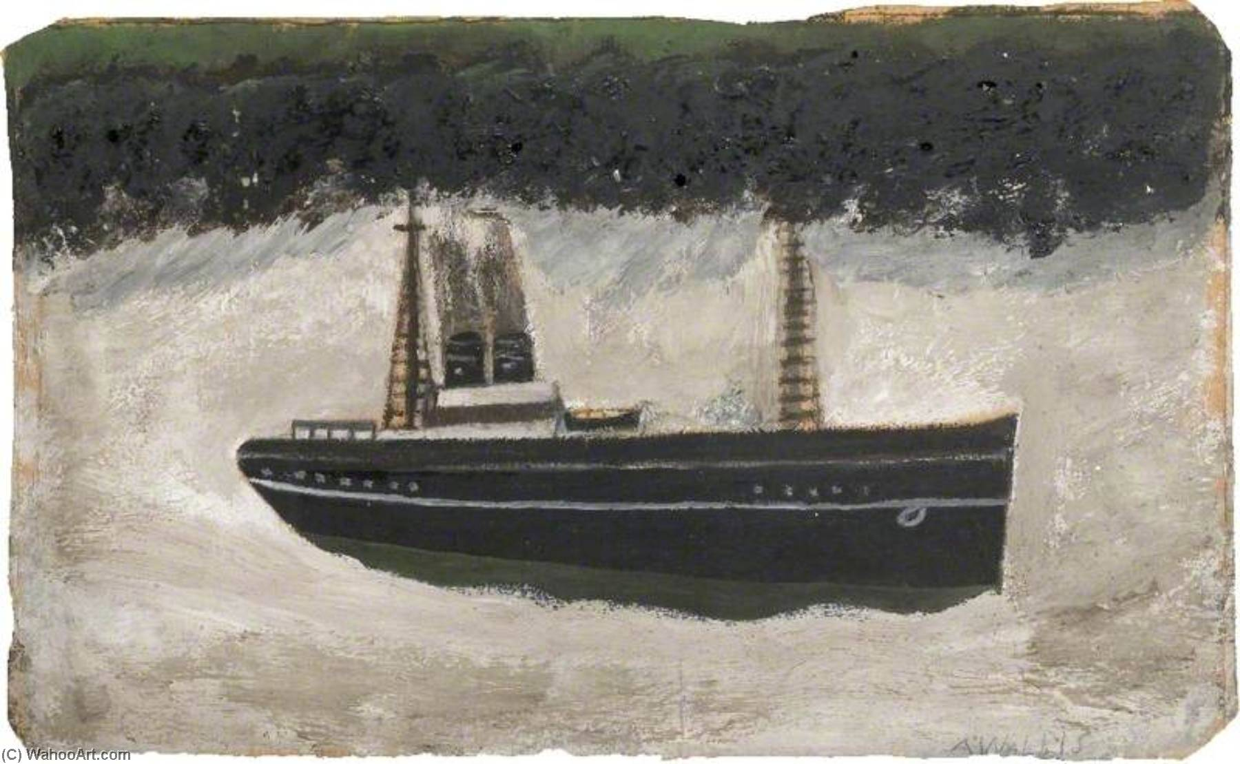 船 通过 Alfred Wallis (1855-1942, United Kingdom) | 傑作拷貝 | ArtsDot.com