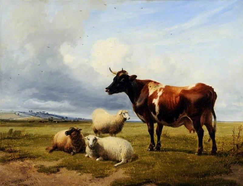 上午 坎特伯雷  草地  肯特 , 1869 通过 Thomas Sidney Cooper (1803-1902, United Kingdom) | 幀打印 | ArtsDot.com
